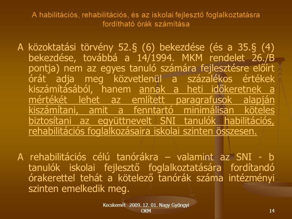 Kecskemét 2009. 12. 01. Nagy Gyöngyi OKM14 A habilitációs, rehabilitációs, és az iskolai fejlesztő foglalkoztatásra fordítható órák számítása A közokt