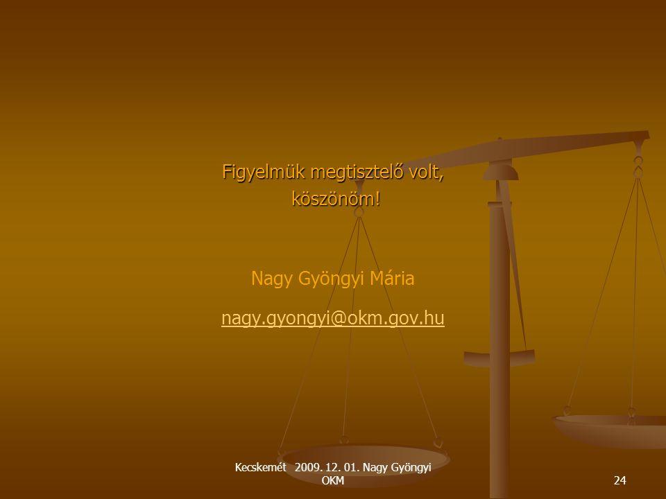 Kecskemét 2009. 12. 01. Nagy Gyöngyi OKM24 Figyelmük megtisztelő volt, köszönöm! köszönöm! Nagy Gyöngyi Mária nagy.gyongyi@okm.gov.hu