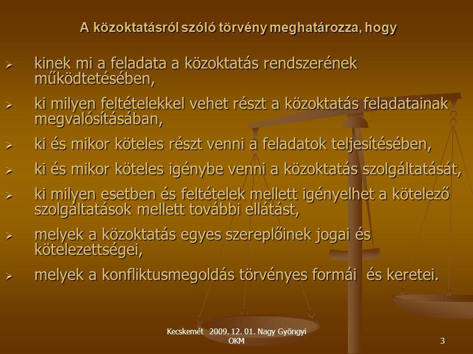 Kecskemét 2009. 12. 01. Nagy Gyöngyi OKM3 A közoktatásról szóló törvény meghatározza, hogy  kinek mi a feladata a közoktatás rendszerének működtetésé