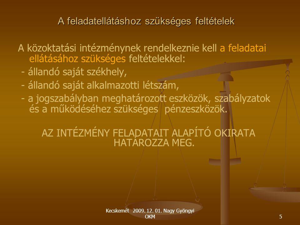 Kecskemét 2009. 12. 01. Nagy Gyöngyi OKM5 A feladatellátáshoz szükséges feltételek A közoktatási intézménynek rendelkeznie kell a feladatai ellátásáho