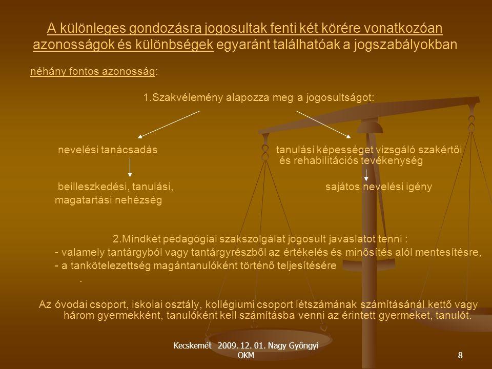 Kecskemét 2009. 12. 01. Nagy Gyöngyi OKM8 A különleges gondozásra jogosultak fenti két körére vonatkozóan azonosságok és különbségek egyaránt találhat