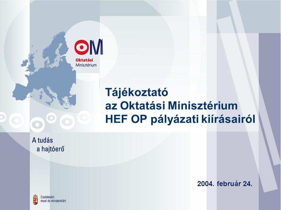 1. Tájékoztató az Oktatási Minisztérium HEF OP pályázati kiírásairól 2004. február 24.