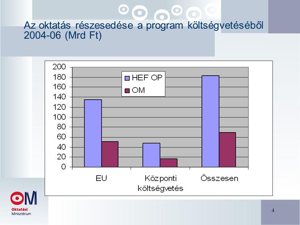 4 Az oktatás részesedése a program költségvetéséből 2004-06 (Mrd Ft)