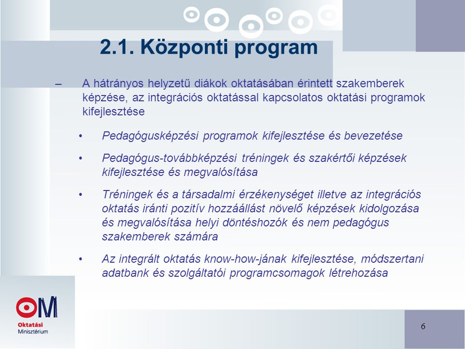 6 –A hátrányos helyzetű diákok oktatásában érintett szakemberek képzése, az integrációs oktatással kapcsolatos oktatási programok kifejlesztése Pedagógusképzési programok kifejlesztése és bevezetése Pedagógus-továbbképzési tréningek és szakértői képzések kifejlesztése és megvalósítása Tréningek és a társadalmi érzékenységet illetve az integrációs oktatás iránti pozitív hozzáállást növelő képzések kidolgozása és megvalósítása helyi döntéshozók és nem pedagógus szakemberek számára Az integrált oktatás know-how-jának kifejlesztése, módszertani adatbank és szolgáltatói programcsomagok létrehozása 2.1.
