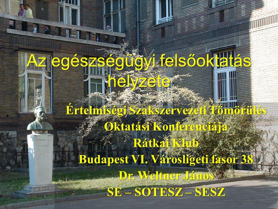 Az egészségügyi felsőoktatás helyzete Értelmiségi Szakszervezeti Tömörülés Oktatási Konferenciája Rátkai Klub Budapest VI. Városligeti fasor 38 Dr. We