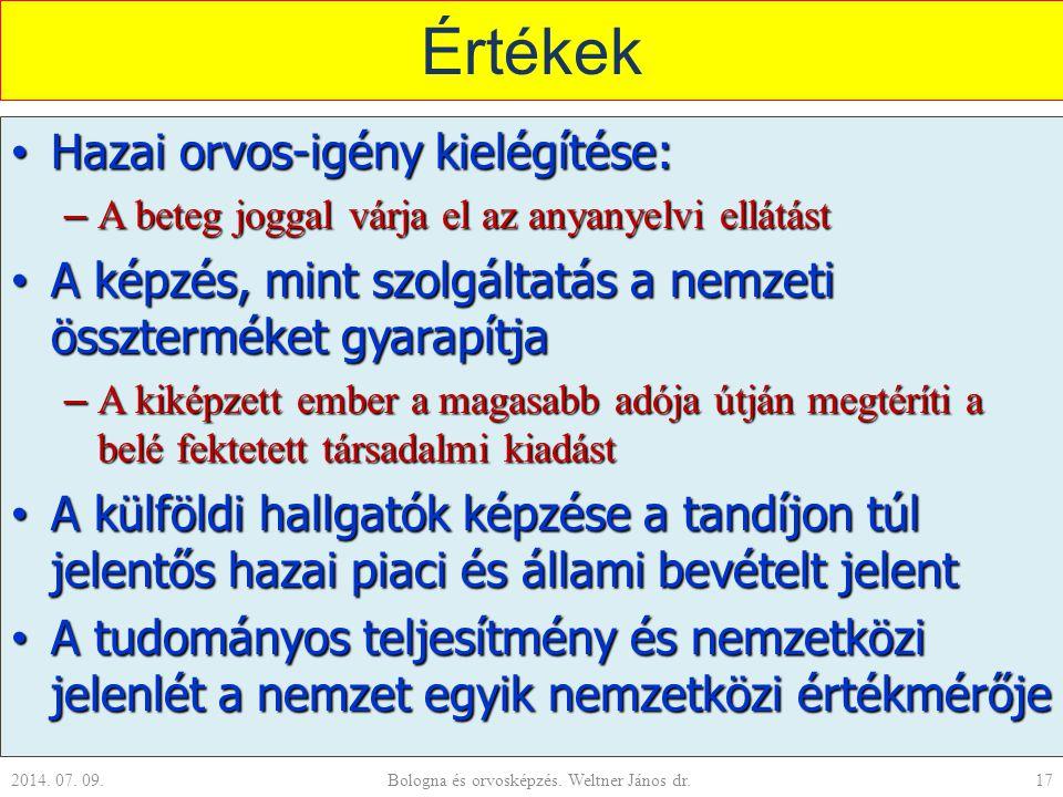 Értékek Hazai orvos-igény kielégítése: Hazai orvos-igény kielégítése: – A beteg joggal várja el az anyanyelvi ellátást A képzés, mint szolgáltatás a n