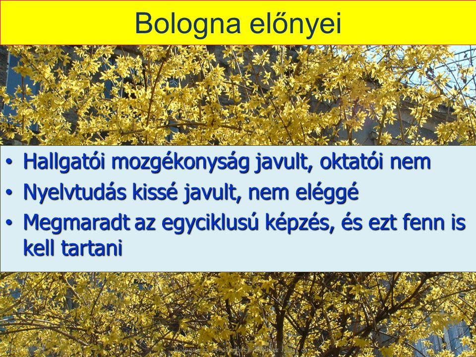 Bologna előnyei Hallgatói mozgékonyság javult, oktatói nem Hallgatói mozgékonyság javult, oktatói nem Nyelvtudás kissé javult, nem eléggé Nyelvtudás kissé javult, nem eléggé Megmaradt az egyciklusú képzés, és ezt fenn is kell tartani Megmaradt az egyciklusú képzés, és ezt fenn is kell tartani 2014.
