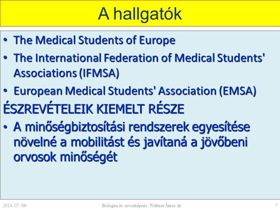 A hallgatók The Medical Students of Europe The Medical Students of Europe The International Federation of Medical Students Associations (IFMSA) The International Federation of Medical Students Associations (IFMSA) European Medical Students Association (EMSA) European Medical Students Association (EMSA) ÉSZREVÉTELEIK KIEMELT RÉSZE A minőségbiztosítási rendszerek egyesítése növelné a mobilitást és javítaná a jövőbeni orvosok minőségét A minőségbiztosítási rendszerek egyesítése növelné a mobilitást és javítaná a jövőbeni orvosok minőségét 2014.