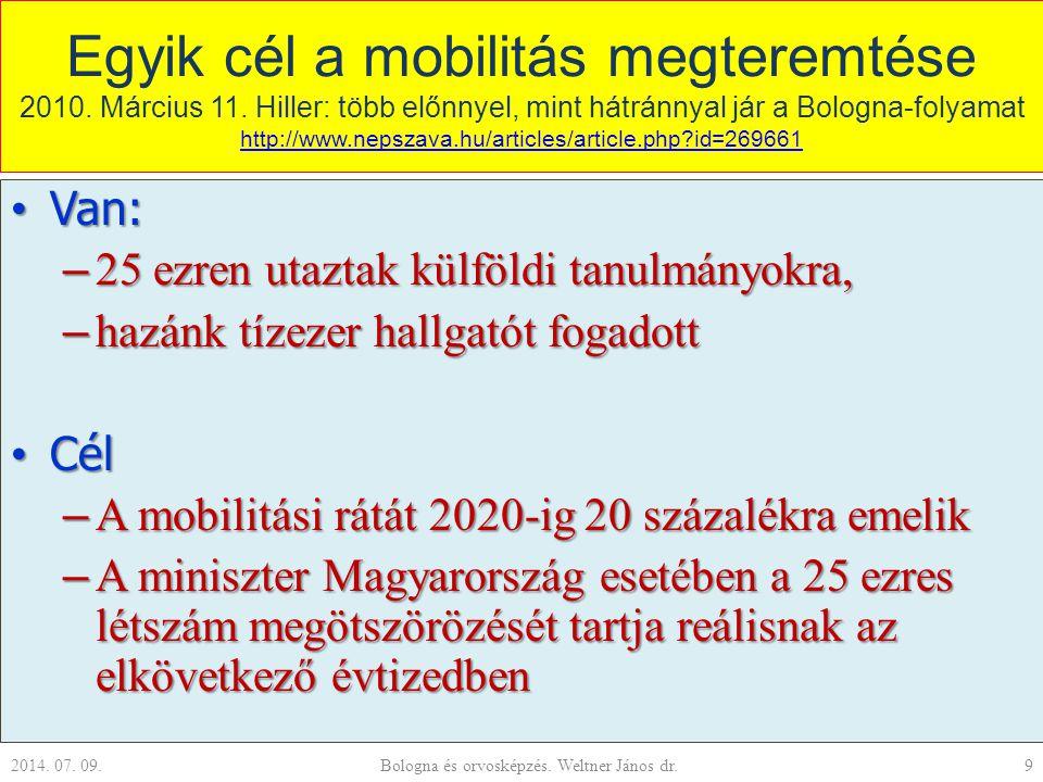 Egyik cél a mobilitás megteremtése 2010. Március 11. Hiller: több előnnyel, mint hátránnyal jár a Bologna-folyamat http://www.nepszava.hu/articles/art