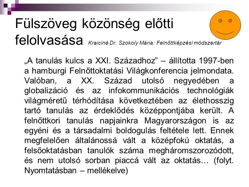 """Fülszöveg közönség előtti felolvasása Kraiciné Dr. Szokoly Mária: Felnőttképzési módszertár """"A tanulás kulcs a XXI. Századhoz"""" – állította 1997-ben a"""