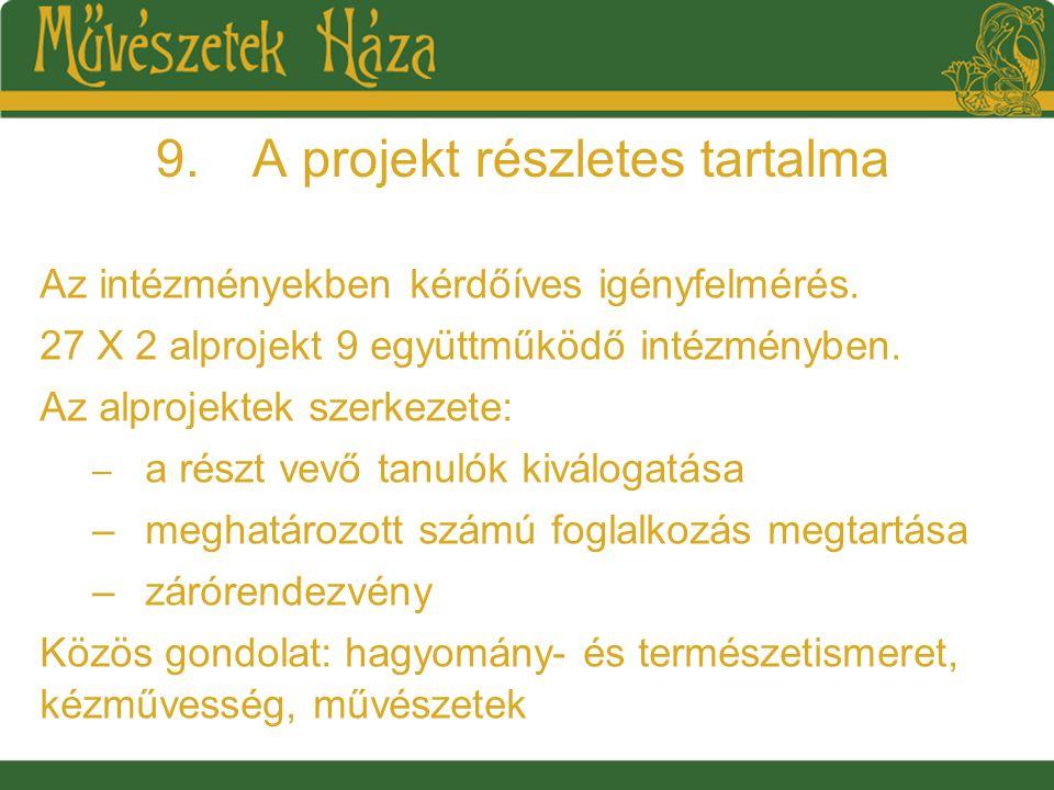 9.A projekt részletes tartalma Az intézményekben kérdőíves igényfelmérés.