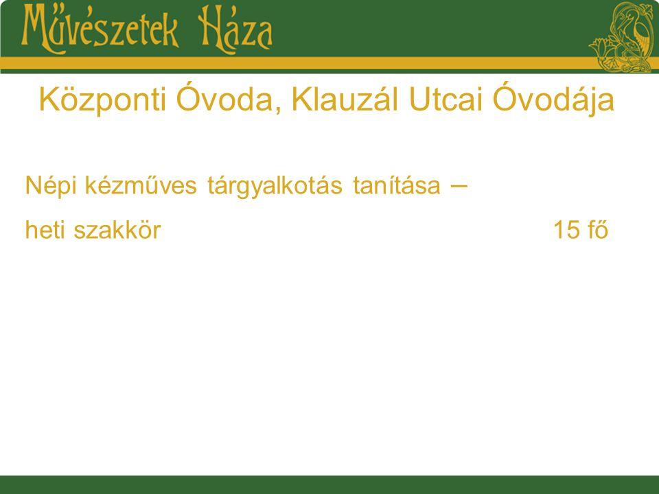 Központi Óvoda, Klauzál Utcai Óvodája Népi kézműves tárgyalkotás tanítása – heti szakkör15 fő