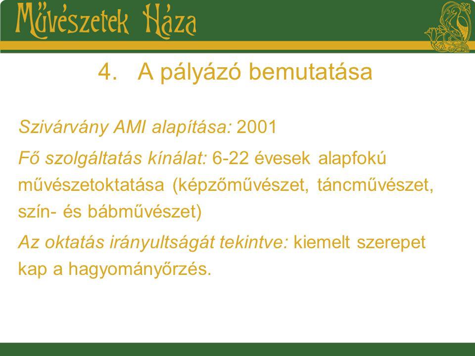 4.A pályázó bemutatása Szivárvány AMI alapítása: 2001 Fő szolgáltatás kínálat: 6-22 évesek alapfokú művészetoktatása (képzőművészet, táncművészet, szín- és bábművészet) Az oktatás irányultságát tekintve: kiemelt szerepet kap a hagyományőrzés.