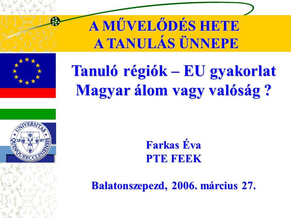 Tanuló régiók – EU gyakorlat Magyar álom vagy valóság .