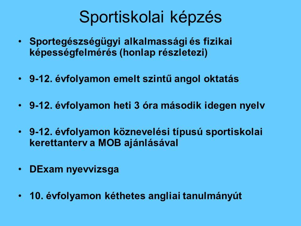 Sportiskolai képzés Sportegészségügyi alkalmassági és fizikai képességfelmérés (honlap részletezi) 9-12. évfolyamon emelt szintű angol oktatás 9-12. é