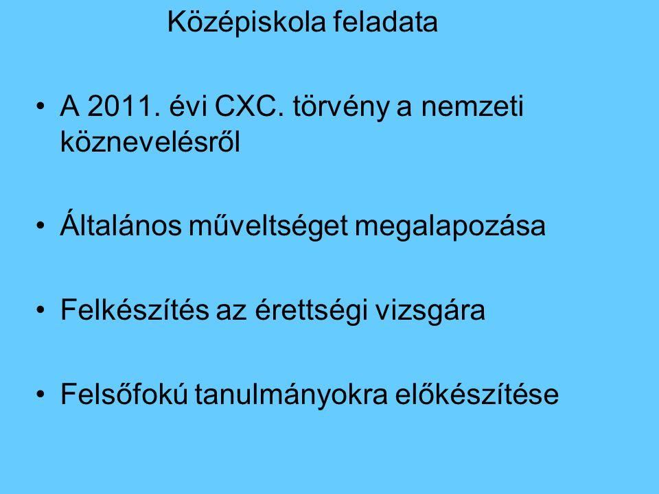 Középiskola feladata A 2011. évi CXC. törvény a nemzeti köznevelésről Általános műveltséget megalapozása Felkészítés az érettségi vizsgára Felsőfokú t