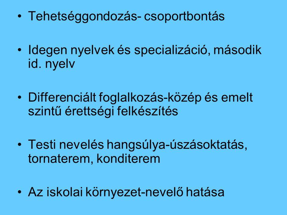 Tehetséggondozás- csoportbontás Idegen nyelvek és specializáció, második id. nyelv Differenciált foglalkozás-közép és emelt szintű érettségi felkészít