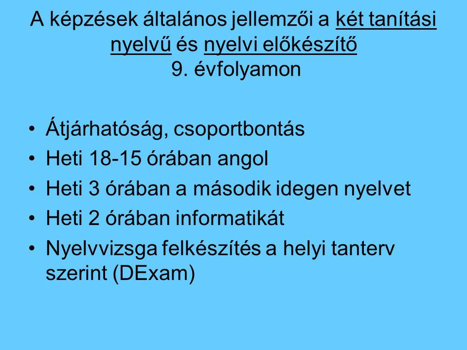 A képzések általános jellemzői a két tanítási nyelvű és nyelvi előkészítő 9. évfolyamon Átjárhatóság, csoportbontás Heti 18-15 órában angol Heti 3 órá