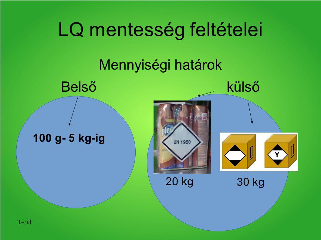 '14 júl. LQ mentesség feltételei Mennyiségi határok Belső külső 100 g- 5 kg-ig 20 kg 30 kg