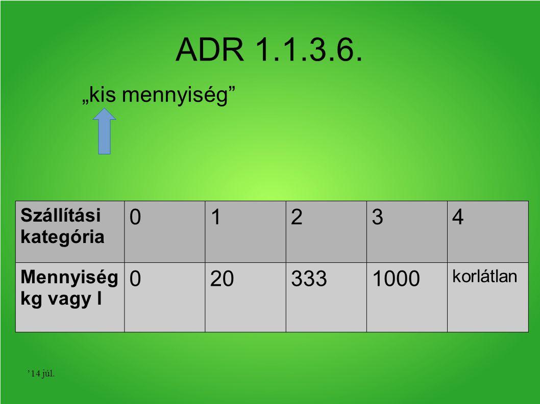 """'14 júl. ADR 1.1.3.6. """"kis mennyiség"""" Szállítási kategória 01234 Mennyiség kg vagy l 0203331000 korlátlan"""