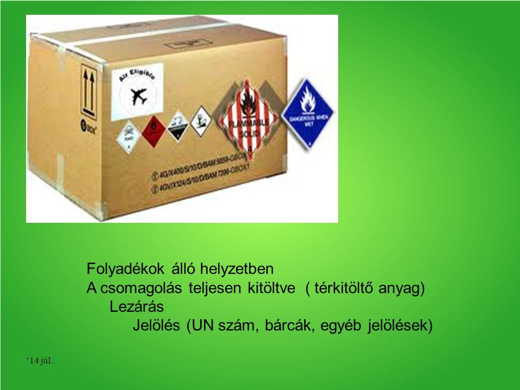 '14 júl. Folyadékok álló helyzetben A csomagolás teljesen kitöltve ( térkitöltő anyag) Lezárás Jelölés (UN szám, bárcák, egyéb jelölések)