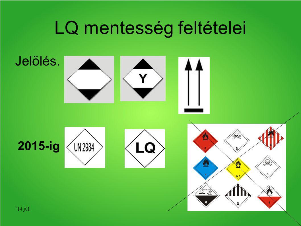 '14 júl. LQ mentesség feltételei Jelölés. 2015-ig
