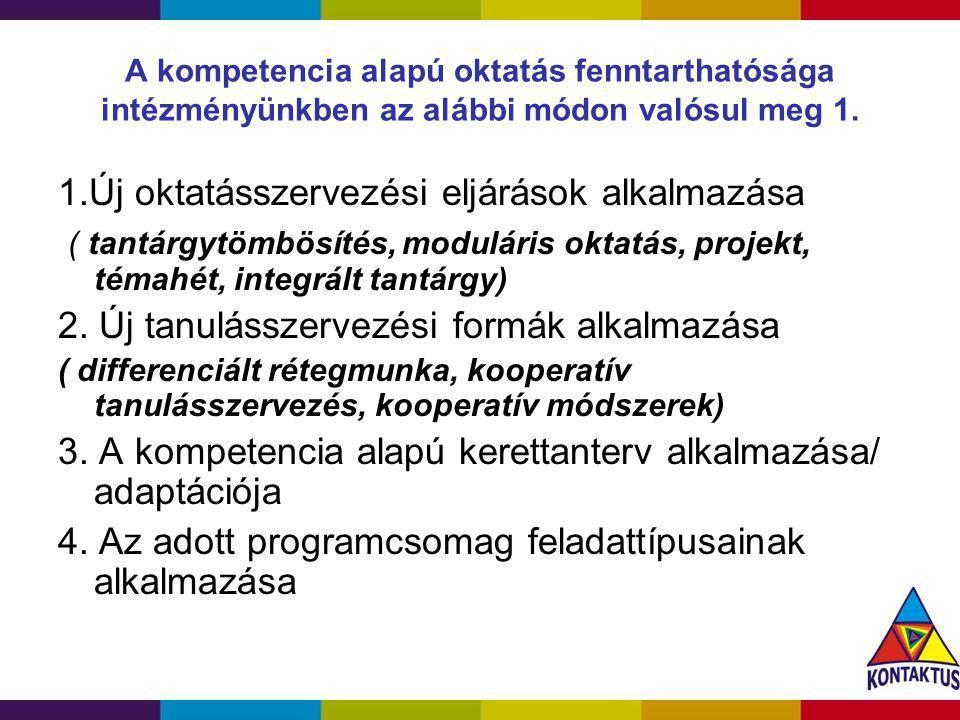 A kompetencia alapú oktatás fenntarthatósága intézményünkben az alábbi módon valósul meg 1. 1.Új oktatásszervezési eljárások alkalmazása ( tantárgytöm