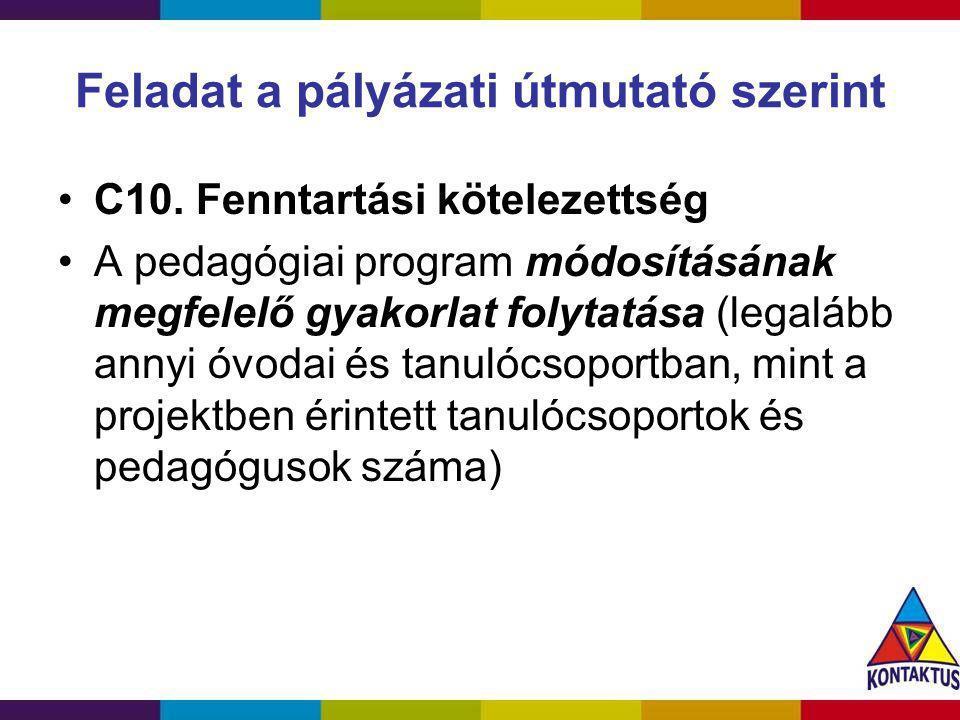 Feladat a pályázati útmutató szerint C10. Fenntartási kötelezettség A pedagógiai program módosításának megfelelő gyakorlat folytatása (legalább annyi