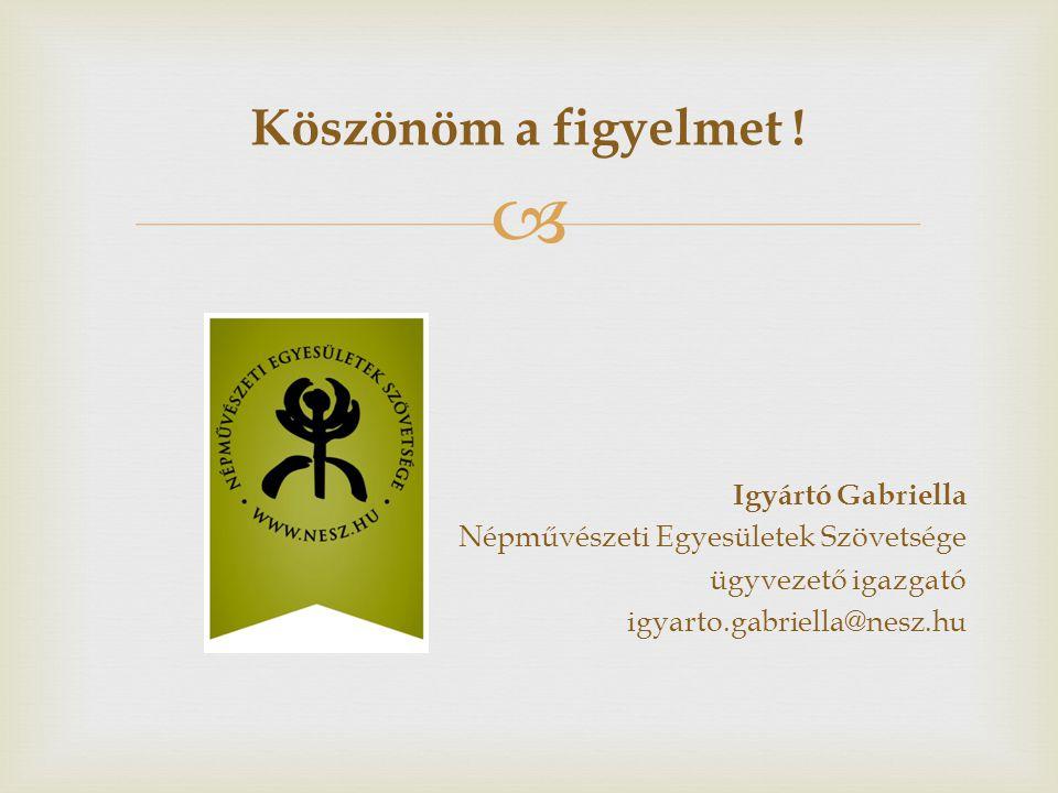 Köszönöm a figyelmet ! Igyártó Gabriella Népművészeti Egyesületek Szövetsége ügyvezető igazgató igyarto.gabriella@nesz.hu