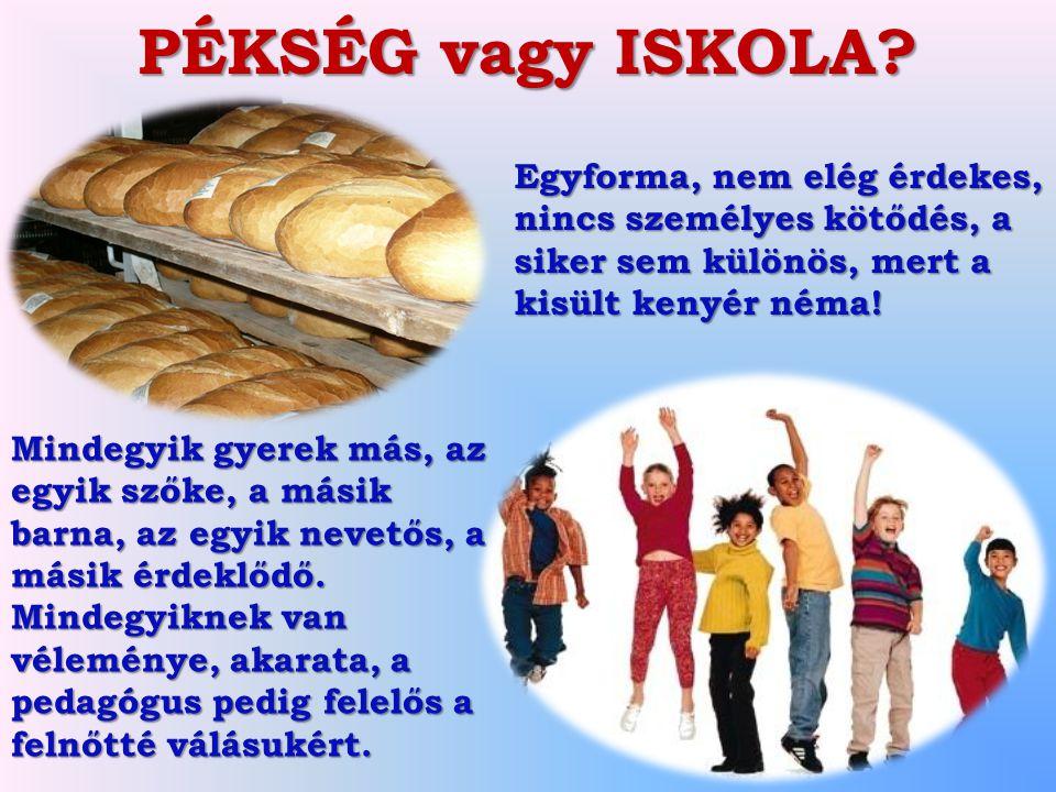 PÉKSÉG vagy ISKOLA? Egyforma, nem elég érdekes, nincs személyes kötődés, a siker sem különös, mert a kisült kenyér néma! Mindegyik gyerek más, az egyi