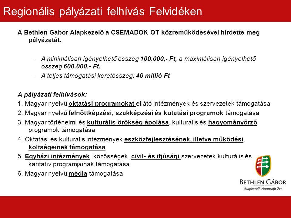 Regionális pályázati felhívás Felvidéken A Bethlen Gábor Alapkezelő a CSEMADOK OT közreműködésével hirdette meg pályázatát.