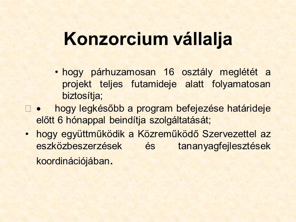 Konzorcium vállalja hogy párhuzamosan 16 osztály meglétét a projekt teljes futamideje alatt folyamatosan biztosítja;  hogy legkésőbb a program befejezése határideje előtt 6 hónappal beindítja szolgáltatását; hogy együttműködik a Közreműködő Szervezettel az eszközbeszerzések és tananyagfejlesztések koordinációjában.