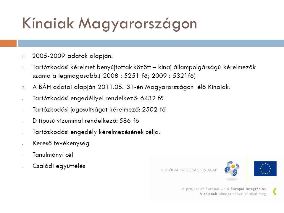Kínaiak Magyarországon  2005-2009 adatok alapján: 1. Tartózkodási kérelmet benyújtottak között – kínaj állampolgárságú kérelmezők száma a legmagasabb
