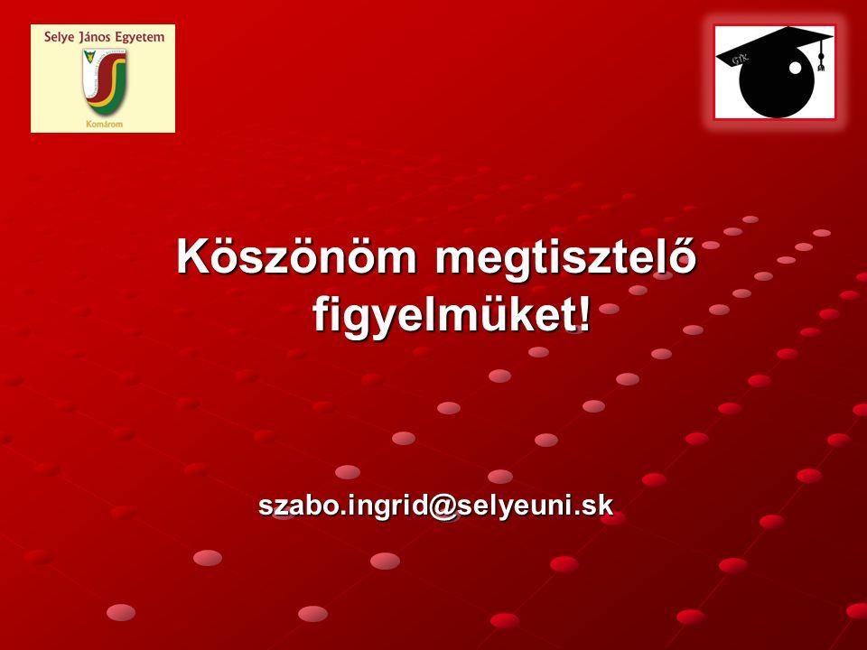 Köszönöm megtisztelő figyelmüket! szabo.ingrid@selyeuni.sk