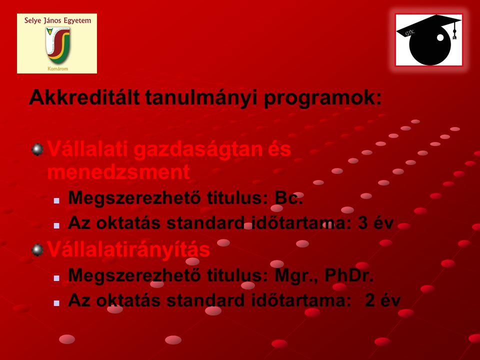 Akkreditált tanulmányi programok: Vállalati gazdaságtan és menedzsment Megszerezhető titulus: Bc.