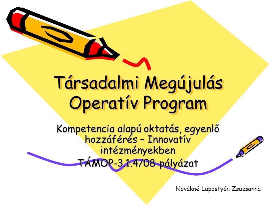 Társadalmi Megújulás Operatív Program Kompetencia alapú oktatás, egyenlő hozzáférés – Innovatív intézményekben TÁMOP-3.1.4/08 pályázat Novákné Laposty