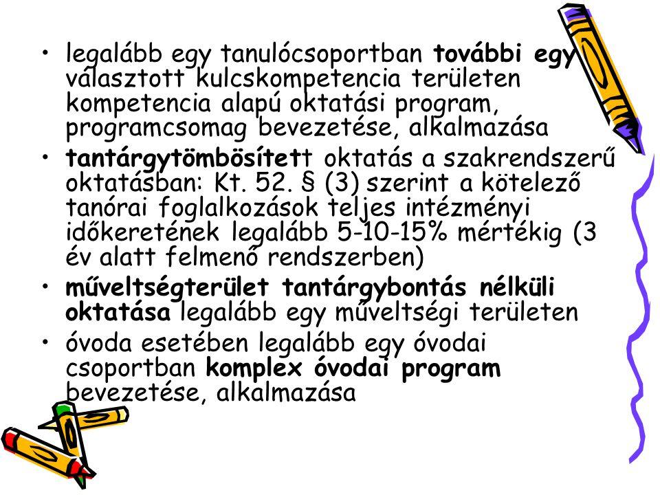 legalább egy tanulócsoportban további egy választott kulcskompetencia területen kompetencia alapú oktatási program, programcsomag bevezetése, alkalmaz
