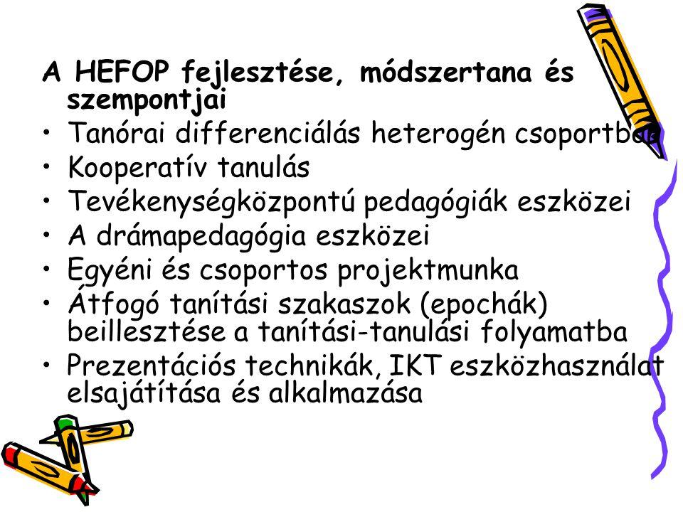 A HEFOP fejlesztése, módszertana és szempontjai Tanórai differenciálás heterogén csoportban Kooperatív tanulás Tevékenységközpontú pedagógiák eszközei