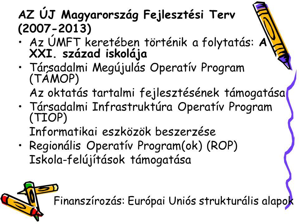 AZ ÚJ Magyarország Fejlesztési Terv (2007-2013) Az ÚMFT keretében történik a folytatás: A XXI. század iskolája Társadalmi Megújulás Operatív Program (