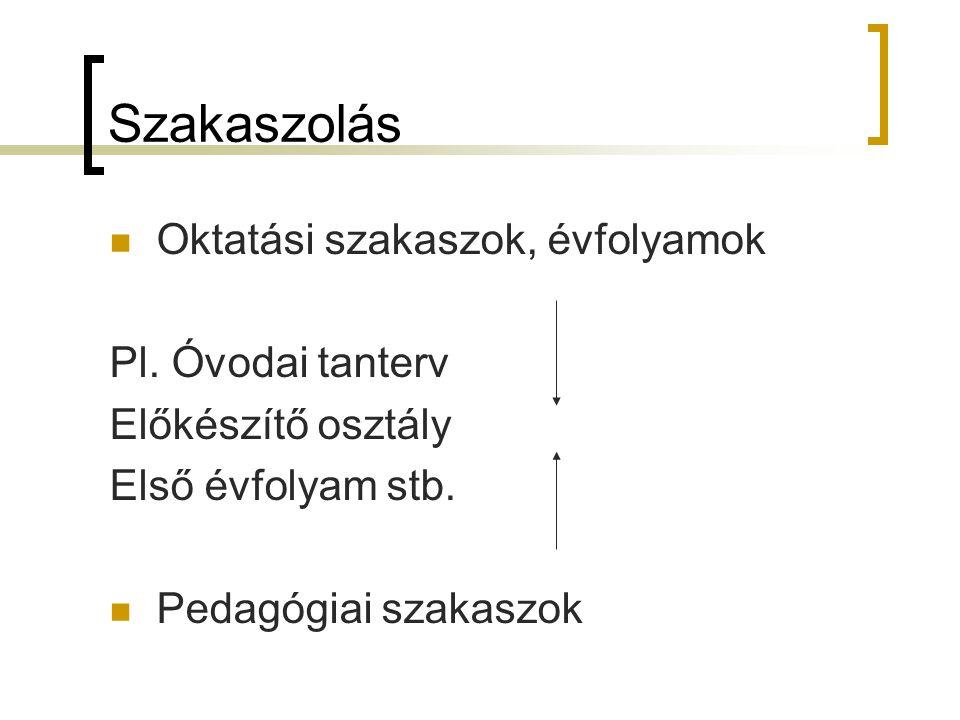 Szakaszolás Oktatási szakaszok, évfolyamok Pl. Óvodai tanterv Előkészítő osztály Első évfolyam stb. Pedagógiai szakaszok
