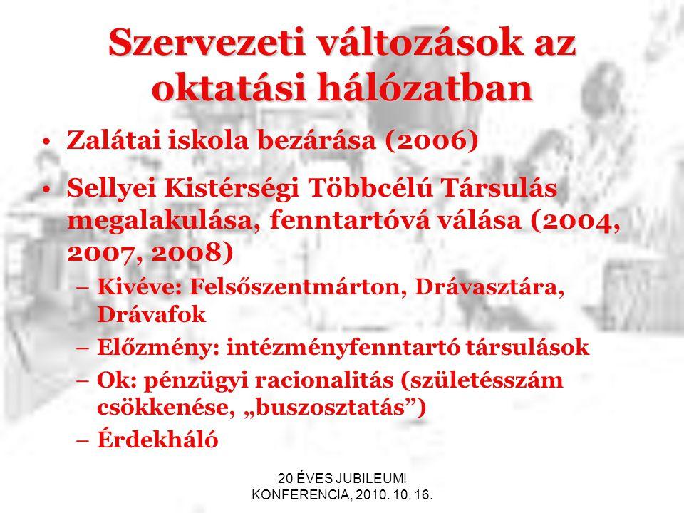20 ÉVES JUBILEUMI KONFERENCIA, 2010. 10. 16. Szervezeti változások az oktatási hálózatban Zalátai iskola bezárása (2006) Sellyei Kistérségi Többcélú T