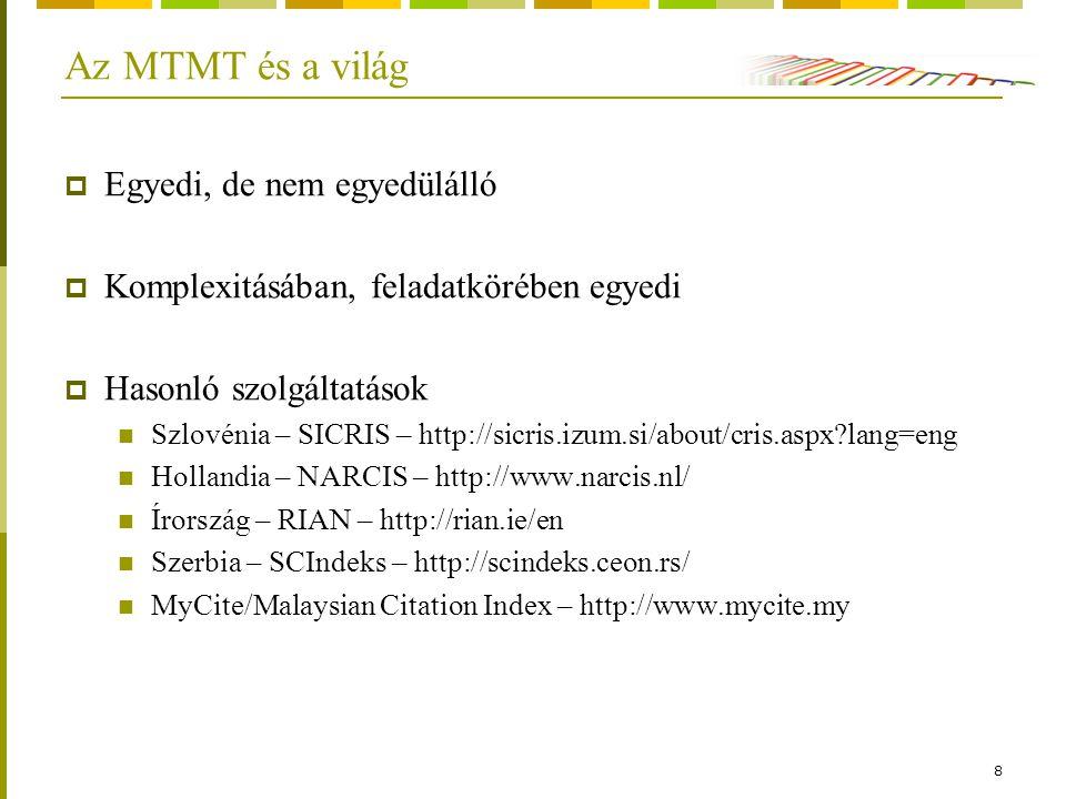 8 Az MTMT és a világ  Egyedi, de nem egyedülálló  Komplexitásában, feladatkörében egyedi  Hasonló szolgáltatások Szlovénia – SICRIS – http://sicris.izum.si/about/cris.aspx lang=eng Hollandia – NARCIS – http://www.narcis.nl/ Írország – RIAN – http://rian.ie/en Szerbia – SCIndeks – http://scindeks.ceon.rs/ MyCite/Malaysian Citation Index – http://www.mycite.my