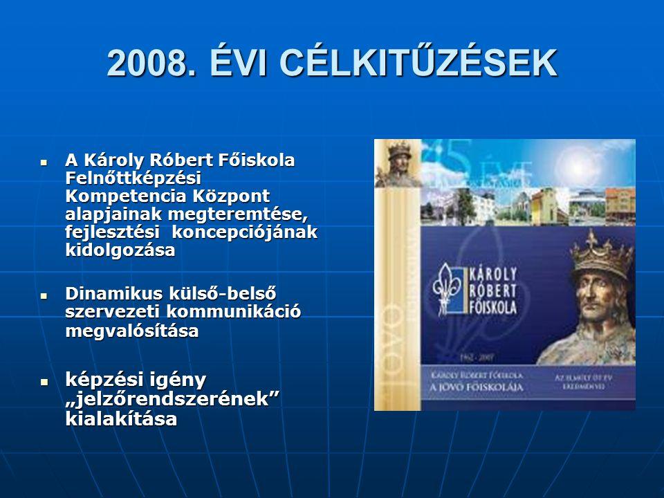 2008. ÉVI CÉLKITŰZÉSEK A Károly Róbert Főiskola Felnőttképzési Kompetencia Központ alapjainak megteremtése, fejlesztési koncepciójának kidolgozása A K