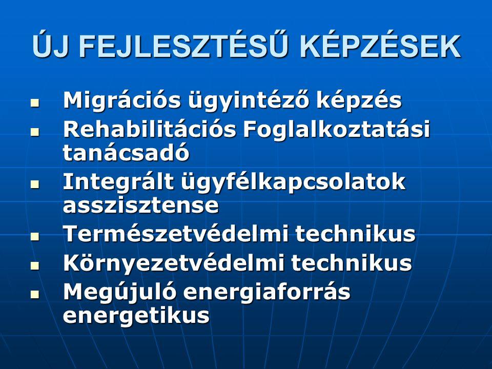 ÚJ FEJLESZTÉSŰ KÉPZÉSEK Migrációs ügyintéző képzés Migrációs ügyintéző képzés Rehabilitációs Foglalkoztatási tanácsadó Rehabilitációs Foglalkoztatási