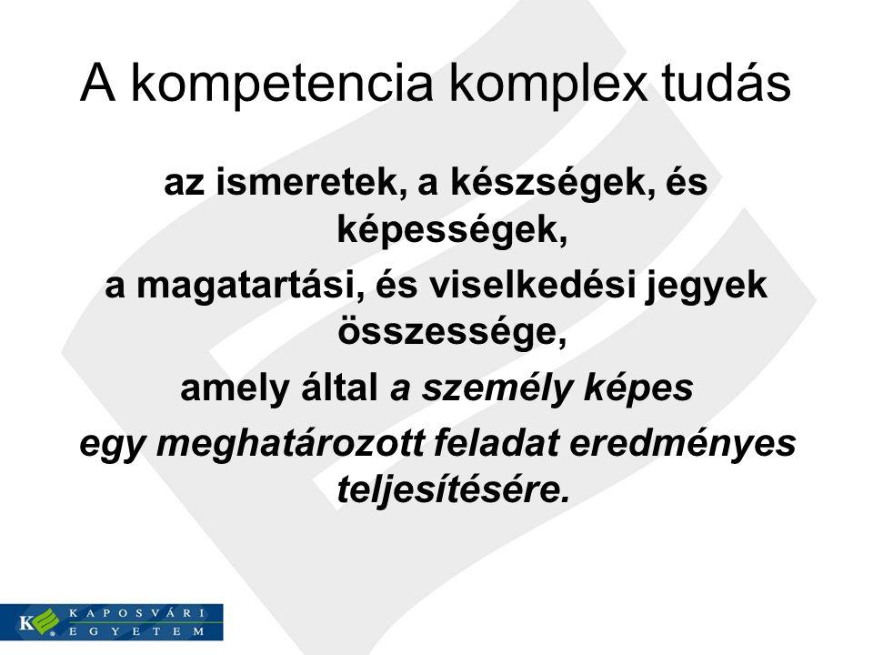 A kompetencia komplex tudás az ismeretek, a készségek, és képességek, a magatartási, és viselkedési jegyek összessége, amely által a személy képes egy meghatározott feladat eredményes teljesítésére.