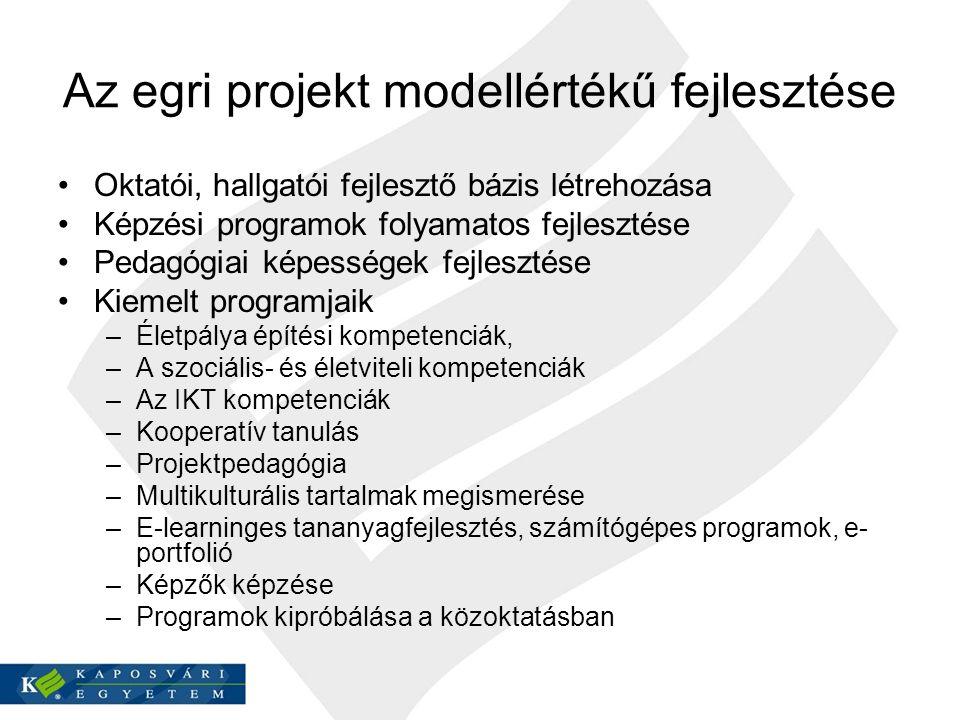 Az egri projekt modellértékű fejlesztése Oktatói, hallgatói fejlesztő bázis létrehozása Képzési programok folyamatos fejlesztése Pedagógiai képességek fejlesztése Kiemelt programjaik –Életpálya építési kompetenciák, –A szociális- és életviteli kompetenciák –Az IKT kompetenciák –Kooperatív tanulás –Projektpedagógia –Multikulturális tartalmak megismerése –E-learninges tananyagfejlesztés, számítógépes programok, e- portfolió –Képzők képzése –Programok kipróbálása a közoktatásban