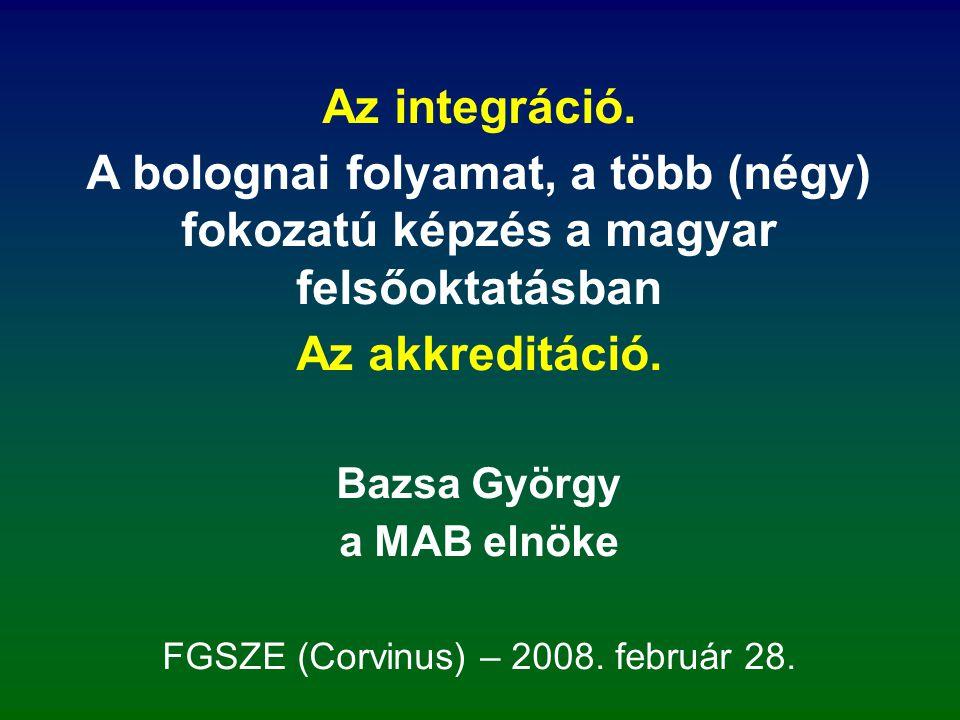 Nagy változások a magyar felsőoktatásban a rendszerváltás után: önálló felsőoktatási törvény: 1993; autonómia kiteljesedése (1985-ös oktatási törvény már sokat biztosított (új: –ideológiai tárgyak, orosz nyelv); nem állami fenntartású FOI-k fokozatos megjelenése; az egyetemek megkapták a tudományos fokozat, a PhD adás kizárólagos jogát; megjelent az akkreditáció – európai felfogásban; Világbanki támogatás helyett nagy fejlesztések ppp- konstrukcióban (előny és hátrány); négy (öt) megrázkódtatás (l.