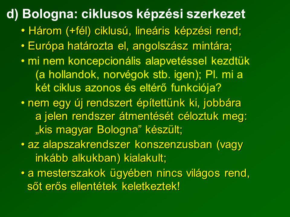 d) Bologna: ciklusos képzési szerkezet Három (+fél) ciklusú, lineáris képzési rend; Három (+fél) ciklusú, lineáris képzési rend; Európa határozta el, angolszász mintára; Európa határozta el, angolszász mintára; mi nem koncepcionális alapvetéssel kezdtük (a hollandok, norvégok stb.