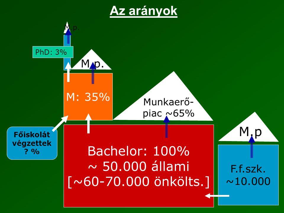 Az arányok Bachelor: 100% ~ 50.000 állami [~60-70.000 önkölts.] M: 35% Munkaerő- piac ~65% M.p.