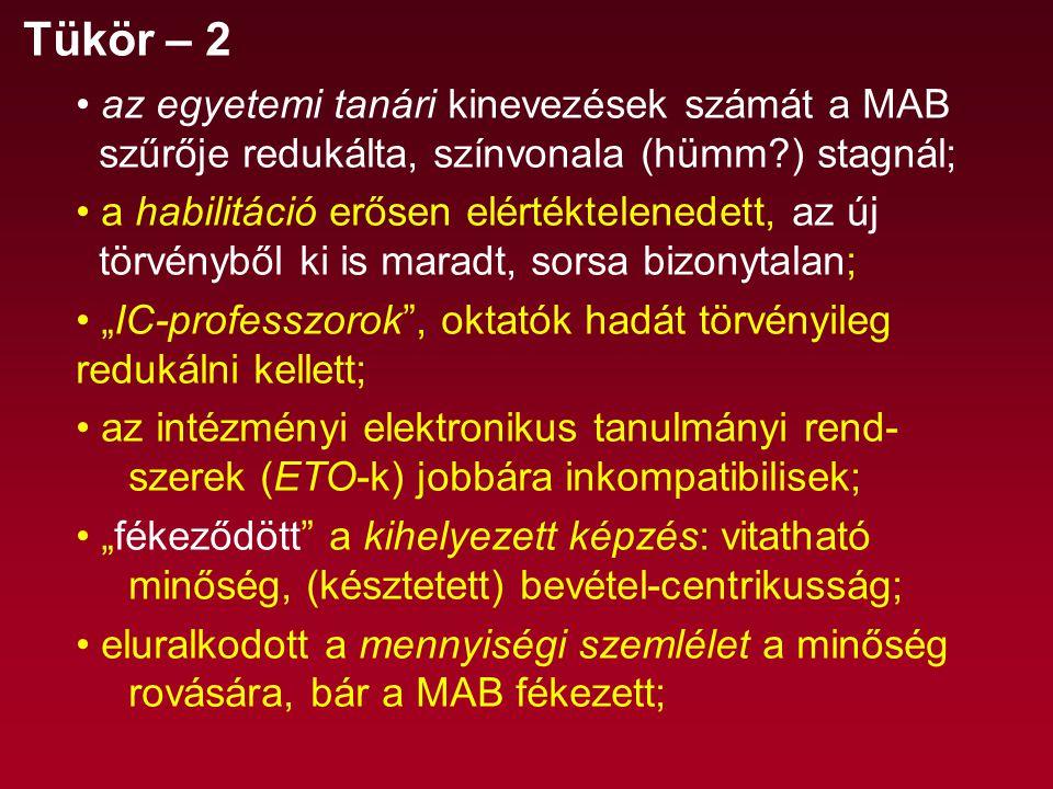 """Tükör – 2 az egyetemi tanári kinevezések számát a MAB szűrője redukálta, színvonala (hümm ) stagnál; a habilitáció erősen elértéktelenedett, az új törvényből ki is maradt, sorsa bizonytalan; """"IC-professzorok , oktatók hadát törvényileg redukálni kellett; az intézményi elektronikus tanulmányi rend- szerek (ETO-k) jobbára inkompatibilisek; """"fékeződött a kihelyezett képzés: vitatható minőség, (késztetett) bevétel-centrikusság; eluralkodott a mennyiségi szemlélet a minőség rovására, bár a MAB fékezett;"""